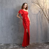 Party Dresses Red One Shoulder Padded Sexy Maxi Dress Women's Evening Robe Night Gowns With Ruffles White Draped Long Slit Wedding