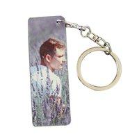 Farbstoff Sublimation leeres doppelseitiges Metall Keychain DIY Rechteckige personalisierte benutzerdefinierte Keychains Aluminiumblech GWD8526