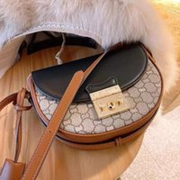 With 2021 new padlock half moon saddle bag leather women's piggy one shoulder slant span