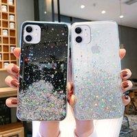 Lüks Bling Glitter Telefon Kılıfları iPhone 11Pro Max XR XS X 8 7 6 S 6 Artı 5 Durumda 12 Pro Silikon Sequins Yıldız Kapak