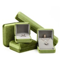 4pcs Grass Green Flannel Jewelry Storage Box Ring Necklace Bracelet Pendant Wedding Packaging Display Gift Velvet Pouches, Bags