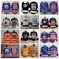 Gelo Hóquei 99 Wayne Gretzky Jersey Homens New York Rangers La Los Angeles Reis Edmonton Oilers Azul Branco Retro Vintage Vintage Negócio Laranja Vermelho Vermelho Costurado
