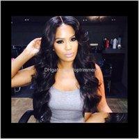 Sentetik Saç Ürünleri Damla Teslimat 2021 Zhifan Uzun Peruk Stilleri 28 inç Moda Kıvırcık Bangs Siyah Kadınlar Için Peruk Görünüm Gerçek Dalgalı Derin Vücut WA