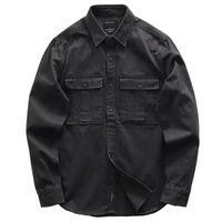 Men's Casual Shirts 2021 Male Cargo Work 100% Cotton Military Shirt Men Long Sleeve Dress Ami Kaji American Retro M-2XL