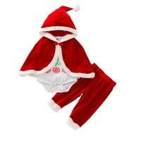 Christmas Toddler Clothing Sets Girls Outfits Baby Clothes Children Autumn Winter Cotton Velvet Letter Hooded cloak Cape Romper Pants 3Pcs B8271