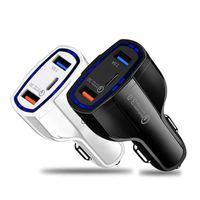 3 ports Chargeurs de voiture 7A 35W USB Charge rapide Type C Chargements rapides Adaptateur d'alimentation automatique pour iPhone Android Smart Phone Tablet