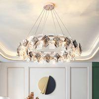 Новые современные светодиодные хрустальные люстры подвесные светильники подвесные светильники для столовой гостиная роскошный дом декор светлых светильников круглый блеск