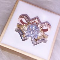 Luxurious Human Skeleton Head Diamond Three-piece Ring Woman Fund Black Gold Color Set Ring