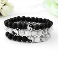 Female Strand Bracelet Classic Natural Stone White and Black Yin Yang Beaded Bracelets for Men Women Friend