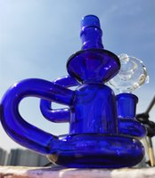 Blue Bongs Recycler DAB установка густой курительный кальян 14 мм совместное маленькое стекло Бонг дешевые стеклянные водные бонги Buoy Bound Bong
