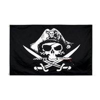 50 stücke Fabrik Direct 100% Polyester 90 * 150 cm 3x5 FTS Schädel und Kreuzknochen Sabres Swords Jolly Roger Pirat Totmann Brustflagge