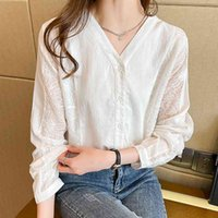 Women's Blouses & Shirts Female white lace blouse, shirt with v-neck, long sleeve, button, chiffon, office, Korean, tops , women's clothes for fall MTR8