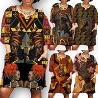 Vestidos casuais 2021 moda africano para mulheres verão meia manga v pescoço Dashiki África Estilo Impressão Rich Bazin