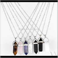 Key Rings Jewelry Drop Delivery 2021 Ddotmdot Piedra Natural Stone Point Necklace Amethyst Rose Quartz Crystal Pendulum Healing Rhinestone Ch