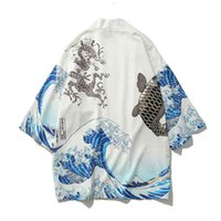 Men's Jackets Gmancl jaqueta grande masculina, casaco kimono outono n estilo japonês para homens, moda hip hop com estampa em guindaste 4NS0