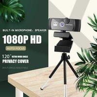 Webcams 1080P Caméra Web Conférence et vidéo appelant la webcam HD avec microphone, couverture de confidentialité de la commande logicielle, jeu d'ordinateur USB
