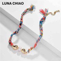 Luna Chiao Spring Summer Eau Frucle Water Collier tressé Tissu Tissu Chaîne tissée Link Colliers Vocation Bijoux