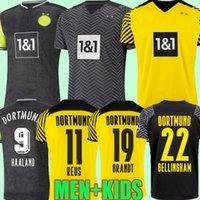 21 22 Borussia 홈 멀리 Haaland Reus Dortmund 축구 유니폼 특별 2021 2022 축구 셔츠 브랜드 Plszczek Bellingham Hummels 110th 4th Men Kids 세트 유니폼 세트