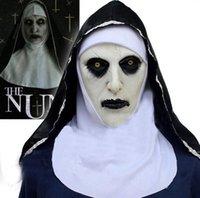 O traje de máscara de cosplay de nun Capacete de látex Capacete Valak Halloween terror assustador Conjuring brinquedos assustadores Toys Fatose Props FWB10399