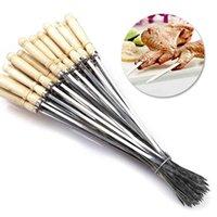 10pc 40 cm plano kebab pincho de kebab acero inoxidable bbq asado aguja barbacoa carne asado horquilla herramienta de cocción al aire libre para hornear accesorios