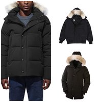 Canada Outerwear Coats Men Winter Down Jacket Bomber Jackets Thick Wolf Fur Fluffy hoodie hoodies Coat Outdoor Classic Male Windproof Warm Parkas Size XS-2XL E0605