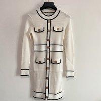 밀라노 활주로 드레스 2021 가을 넥 롱 슬리브 프린트 여성 디자이너 드레스 브랜드 동일 스타일 드레스 0816-23