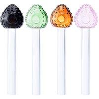 미니 짧은 컬러 딸기 그릇 유리 손 직선 지우기 파이프 다채로운 그릇 유리 오일 버너는 파이렉스 (Pyrex) 석유 버너 파이프 파이프 흡연