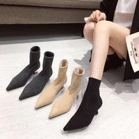 Boots Women Ankle Sock Booties Spring Autumn Fashion Stretch Woman Short Botas Pointed Toe Slip On Mules Shoes 35-39