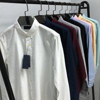 Camisa de manga larga para hombres Polo de alta calidad Color Puro Puro Casual Sólido Ajuste Regular Ajuste de Algodón Camisa Negro Blanco Rosa Rosa Azul Verde Tamaño S-2XL