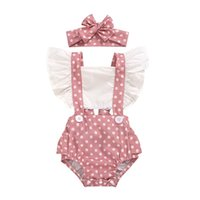 Pudcoco Newborn Baby Girl Clothes Polka Dot Print Ruffle Sleeveless Backless Romper Jumpsuit Headband 2Pcs Outfits Sunsuit 2329 V2