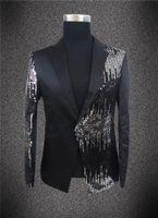 Plus Size Mens Sequins Slim Suit Nightbar Singer Dancer DJ Party Show Stage Costumes The Groom Formal Dress Men's Suits & Blazers