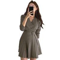 Vestido de Malha Com EM V Feminino Elegante, Manga Longa Para Escritorio, Linha A Trico Günlük Elbiseler