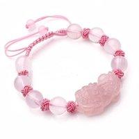 자연 핑크 크리스탈 pixiu 팔찌 디자인은 건강 부적을 낳는 여성을 위해 운이 좋다.