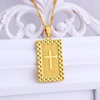Pingentes Cristão Cruz Golden Geometric Colar Retangular Pingente Jóias Religiosas Masculinas