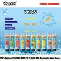 100 % 원래 VCAN 상위 4000 퍼프 일회용 전자 담배 메쉬 코일 충전식 RGB 조명 공기 흐름 정사각형 모양 맑은 바디 독특한 10 flavs 배터리 LR 44 AA
