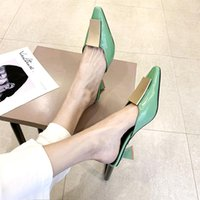 Dress Shoes Green Summer Pointed Toe Heel High Heels Sandals Lady Pumps Slip On Sexy Women Party Wedding Slingbacks Classics