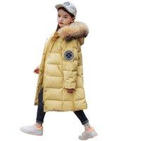 الأطفال أسفل معطف الاطفال الشتاء أبلى الفتيات ملابس الأولاد ملابس الأطفال سترة طويلة الفراء طوق مقنع معاطف الدافئة B8419