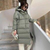 OFTUBY 2021 X-Long 90% White Duck Down Jacket Winter Women Coat Really Natural Fox Fur Collar Hooded Warm Outerwear Streetwear