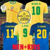 2021 Jersey de fútbol Camiseta de Futbol Paquete Neres COUTINHO Brasil Camisa Fútbol Firmino Jesús Marcelo Pele Brasil 20 21 Maillot de Pie Men + Kit Kit 999