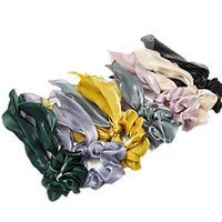 Sweet Pure Color Women Girls Hairbands Satin Fabric Streamer Hair Ring Accessory Large Intestine Hair Rope 3031 Q2