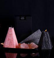 북유럽 기하학 콘 향수 촛불 재스민 장미 아로마 테라피 에센셜 오일 촛불 오래 지속되는 홈 침실 양초 DWA2484