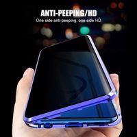 Магнитная конфиденциальность кейса закаленного стекла встроенный чехол для телефона для Samsung Galaxy S20 S20 S8 S9 S9 S10 PLUS PRO A50 A70 Магнитный металлический бампер Anti-Peep