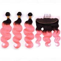 # 1b розовое золото омбре индийские волнистые человеческие волосы 3 пачков с кружевной лобной волной тела розовые ombre волосы волосы с лобным кружевным закрытием 13x4