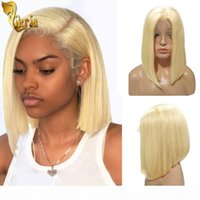 Blonde #613 Bob Lace Front Wigs Full Lace Human Hair Wig Gluless 130%~150% Density 8~14 inches Pre Plucked Hairline For Black Women Indian