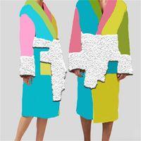 Accappatoio di cotone colorato creativo Accappatoio Jacquard Donne Uomo comodo Sleepwear Abbigliamento caldo Robes Home Abbigliamento