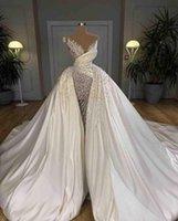 Dubai Pearls Mermaid Wedding Dresses Bridal Gowns With Detachable Train Major Beading 2021 Arabic Custom Made robe de mariee