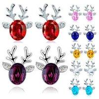Weihnachten Kristall Geweih Ohrringe Luxus 3D Rentier Weihnachten Ohrringe