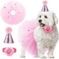 Dog Apparel Legendog Pet Birthday Decoration Set Funny Decorative Dogs Cats Collar Tutu Skirt Pink Color Hat Party Supply