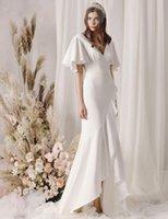 Платья партии белый пляжный стиль высокого низкого чифона русалка свадебное платье свадьба свадебные GOWM производитель