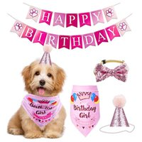 Fowecelt El Yapımı Ayarlanabilir Pet Doğum Günü Partisi Dekor Kedi Köpek Eşarp Şapka Yaka Afiş Aksesuarları DIY Malzemeleri Giyim için